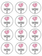 "12 x Ruby Wedding Personalised  2"" PRE-CUT PREMIUM RICE PAPER Cupcake Toppers"