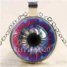 Tesla's Eye Fractal Cabochon Glass Tibet Silver Chain Pendant  Necklace