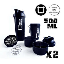 2x TWOTAGS 3-IN-1 Protein Shaker Bottle 500ml GYM SMART BLENDER MIXER SPIDER CUP