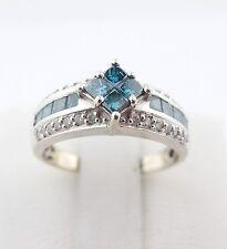 1/2 ct .50 Illusion Genuine Blue & White Diamond Engagement Ring 14k White Gold