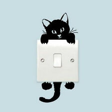 3xBlack Cat Switches Wall Sticker Removable Waterproof Room Light Label Decal#