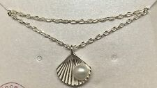 925 Sterling Silver Necklace Chain White Freshwater Pearl in Shell Pendant Gift