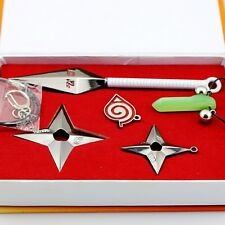 Naruto Konoha Ninja Village Kunai Weapon Star Shuriken Lucky Stone 5pc Set GIFT