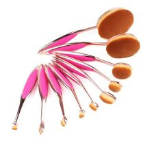 10Pcs Elite Oval Toothbrush Makeup Brush Set Foundation Brushes Tool Pink Gold