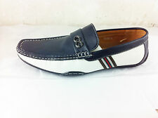 New Mens Leather Look Designer Inspired Slip On Loafers Shoes Brown Blue Grey