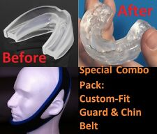 Stop Snoring CUSTOM-FIT MouthPiece Sleep Apnea Guard+ Anti Snore CHIN BELT Strap