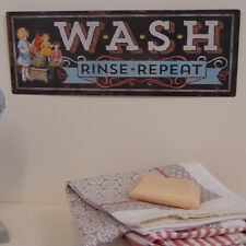 'Wash,Rinse,Repeat' Wall Plaque Shabby Vintage Chic Sign Home Black Utility Room