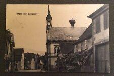 CPA. GRUSS aus GOXWEILER. 67 - Maisons. Eglise. Nid de Cigognes. 1912 ?