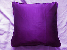 "Purple Solid Square Throw Cushion Cover 22x22"" cord piping Polyester silk"