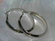 Estate Large Beveled SIlvertone Hoop Earrings for Pierced Ears – 1 and 5/8th's