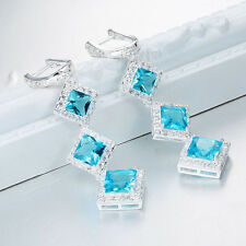 Women Fashion 925 Sterling Silver Aquamarine Stud Drop Dangle Earring Jewelry