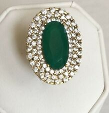 Emerald Turkish Ring Handmade Jewelry 925 Sterling Silver Statement 8 Cocktail