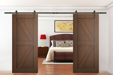 12Ft Dark Coffee Antique Style Double Sliding Barn Wood Door Closet Hardware Set