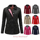 LADIES QUILTED PADDED BUTTON ZIP WOMENS WINTER JACKET COAT TOP PLUS SIZES 8-20