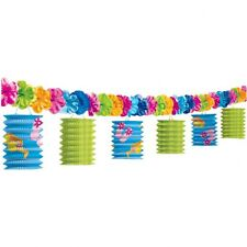 HAWAIIAN PARTY Fun in the Sun Lantern Paper Garland & flowers 10 feet FREE P&P