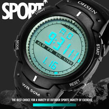 OHSEN Men's Digital Sports Watch LED Screen Large Face Military Watches Black