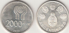 MONETA SOCCER ARGENTINA 1977 2000 PESOS ARGENTO SILVER  CAMPIONATO MONDIALE
