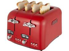 DeLonghi CT04.R1 Red Argento Vintage 4-Slice Wide Slot Toaster Retro CT04.R1