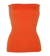 NEW ORANGE TUBE TOP LONG STRETCH STRAPLESS SEAMLESS S M L