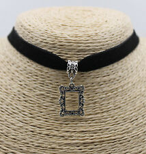 Square Hollow Heart Swirl Pendant Women Black Choker Collar Bib Necklace 1PC #14