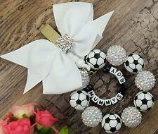 Personnalisé superbe landau charme dans le football perles bébé garçons avec diamontee