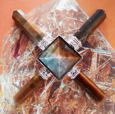 STUNNING TIGER EYE CRYSTAL AND SILVER PYRAMID ENERGY GENERATOR WITH FOUR POINTS