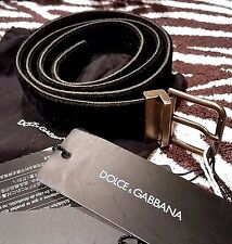 New DOLCE & GABANNA Men's Black VELVET Leather Belt Antique Brass Buckle SZ 30