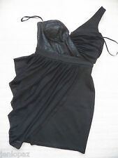 NWT Bebe black one shoulder bustier ruched mesh cocktail club top dress XS sexy