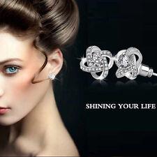 Women New Silver Plated Ear Stud Zircon Crystal Rhinestone Shiny Diamont Earring