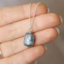 U&C Sundance Blue Gray Kyanite Nugget Pendant 925 Sterling Silver Chain Necklace