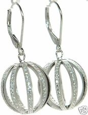 Solid 925 Sterling Silver Lab Simulated Diamond Ball Drop Earrings '