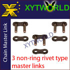3 Motorcycle 520 NON RING Chain MASTER JOINT LINK-RIVET