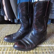 LUCCHESE vintage Black Cherry red burgundy LEATHER COWBOY BOOTS mens 8 D WESTERN