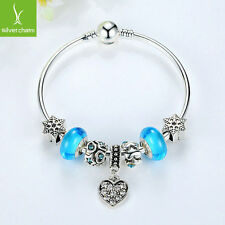 2016 Blue Murano Glass Bead Heart Silver Charm Bangle Women Fashion Jewelry Gift