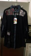 NWT WOMENS DESIGUAL NAVY BLUE BUTTON DOWN SHIRT MEDIUM