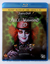 Disney Johnny Depp Live Action Alice in Wonderland 3D Blu-ray DVD Digital Copy