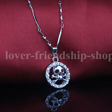 Skull 925 Sterling Silver Chain Crystal Pendants Necklace Jewelry Gift For Girls