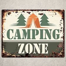 PP0162 Rust CAMPING ZONE Sign Home Shop Cafe Restaurant Interior Decor Gift