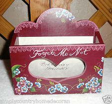 "WOOD ""Forget Me Not"" HALF BOX~Hand Painted~Sold Wood~Floral~NEW~FREE SHIP"