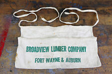 Vintage Nail Apron BROADVIEW LUMBER CO. YARD POUCH ADVERTISING FORT WAYNE AUBURN