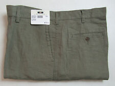 $79 New Jos A Bank JOSEPH ABBOUD Linen flat front shorts in Grey stripe  38 W