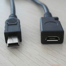 mini USB B 5p male to micro B 5pin female data charge usb short cable 13cm #mm02