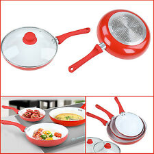 5* Non-Stick Ceramic Coated Pan Set with Glass Lids PRIMA Cooking Frying Red Set