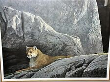 Rocky Wilderness Cougar by Robert Bateman. Professionally Framed, Signed.