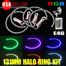 4 x 131mm LED RGB Multi-Color Angel Eye Halo Rings for BMW E39 E46 Headlight US