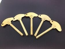Set of 5 Solid Brass Schatz Anniversary 400 Day Trademark Clock Key #3  3.0 mm