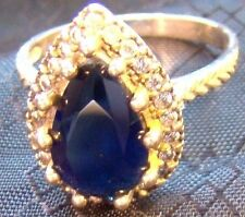 Beautiful Large Deep Blue Teardrop Pear Sapphire Sterling Silver Sz 7 Ring 3 Ct