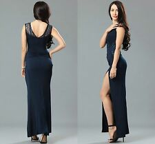 Ladies Women Ball Prom Party Celeb Blue Side Lace Runched Long Maxi Dress 14