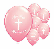 "8 x PINK FIRST HOLY COMMUNION 12"" HELIUM BALLOONS PARTY DECORATIONS  (PA)"
