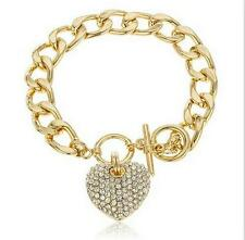 Womens Gold Chain Bracelet Ladies T Bar Crystal Heart Pendant jewellery New